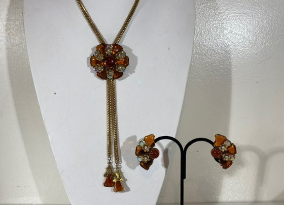 3pc Selini Amber necklace& earring set