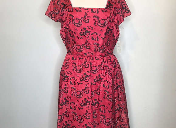 1950s red tapestry dress
