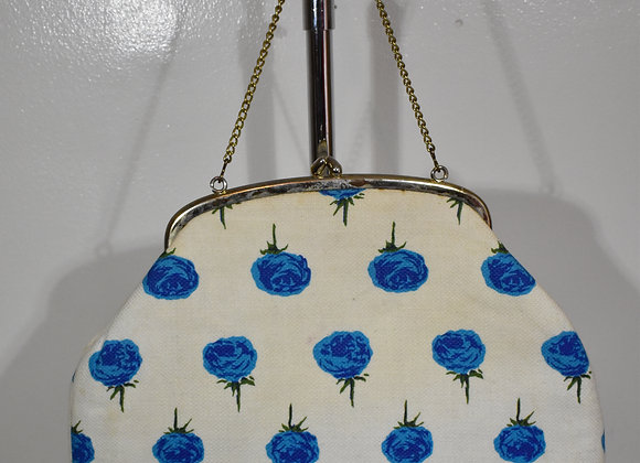 1950s creme purse with blue roses