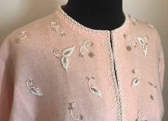 1950s pink wool cardigan