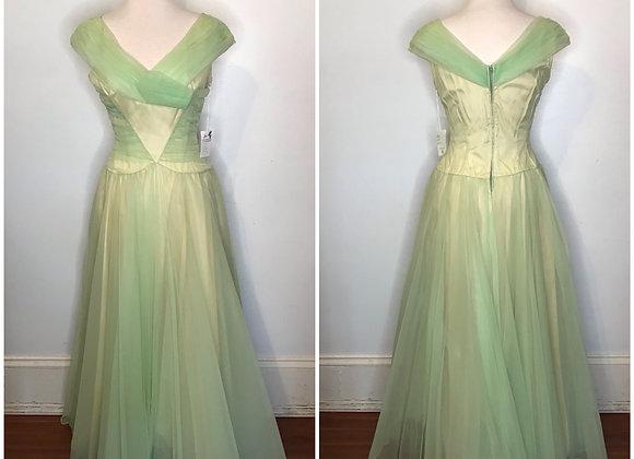 1940s yellow satin dress
