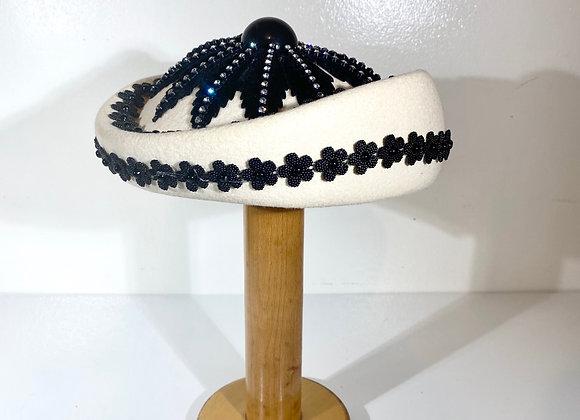 Cream Black 3D Crystal hat