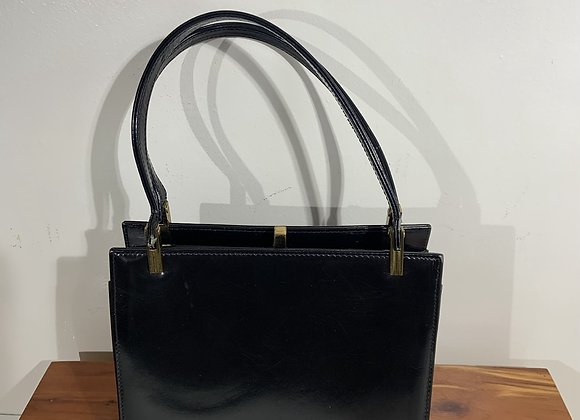 Black leather multi section purse