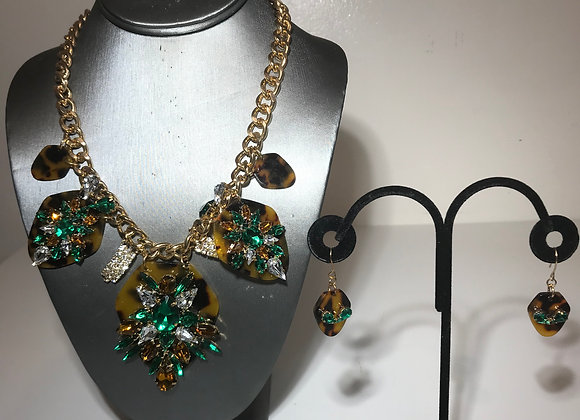 3pc Faux Tortoise/Green Crystal Set