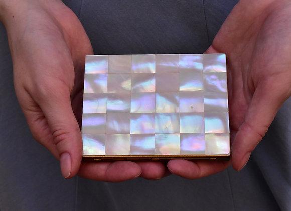 Goldtone Pearl Card Holder