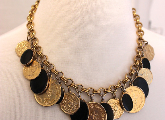 Gold & Black Coin Choker