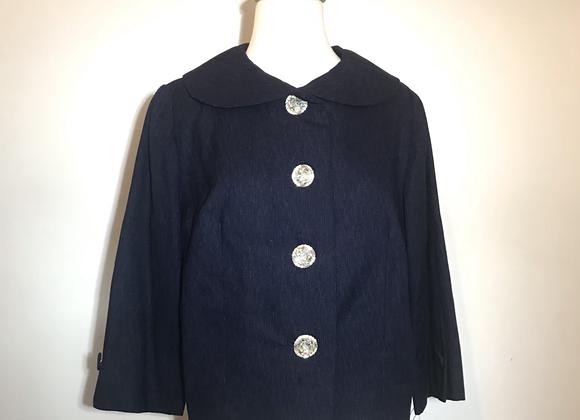 Navy patterned wool bolero