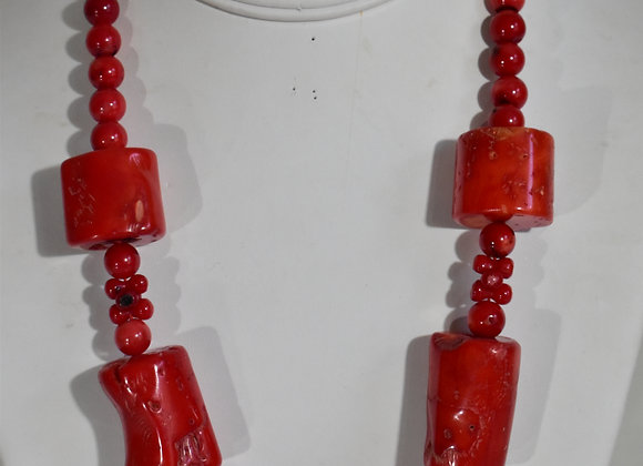 Red glass coral necklace