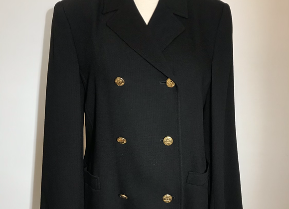 Escada black wool herringbone lined blazer