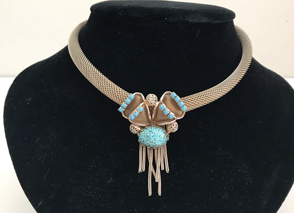 Gold tone turquoise necklace