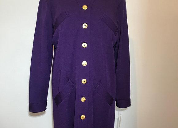 Designer Purple Wool Coat Dress