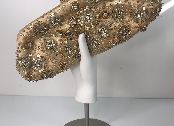 1950s gold beaded satin clutch