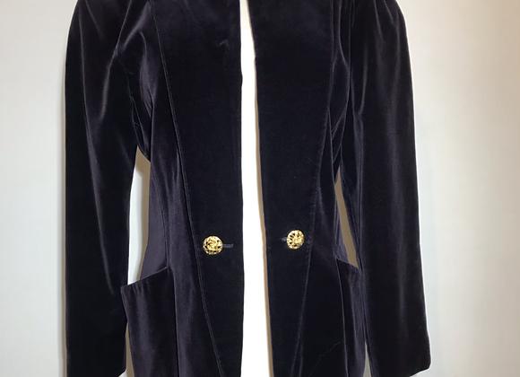 Louis Feraud purple velvet open blazer
