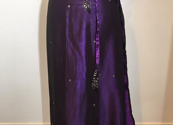 Sari style deep purple wrap skirt