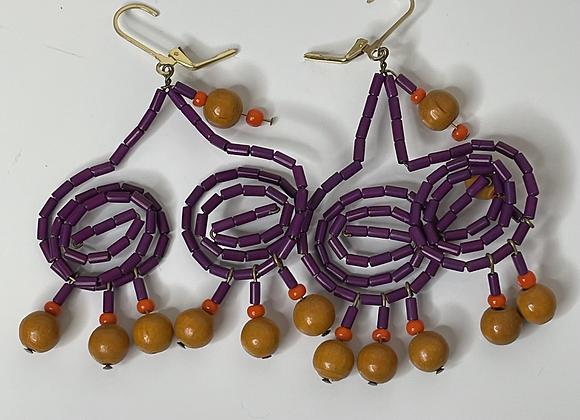 Wood beaded earrings