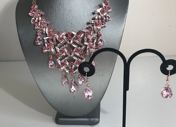 3pc Pink Crystal Necklace Set