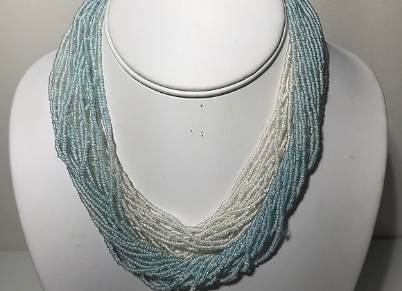 Blue White Seed Bead Necklace