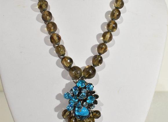 DeMario blue crystal Pendant Choker