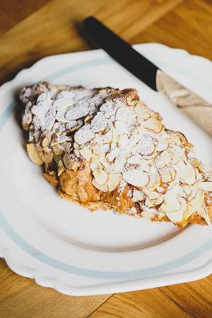 Almond croissant on the vintage plate