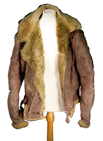 A leather RAF flight jacket on a mannequin.