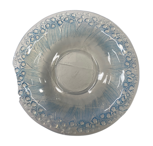 'Lalique' glass bowl, with clear and blue glass.