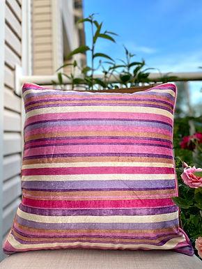 Velvet Decorative Pillow case (Purple Pink Stripe)