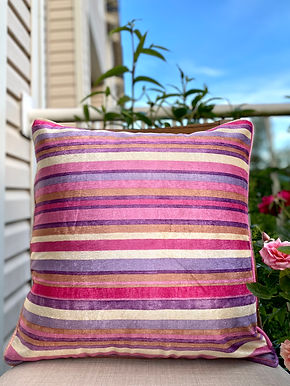 Velvet Decorative Pillow case (Purple Pink Stripe)