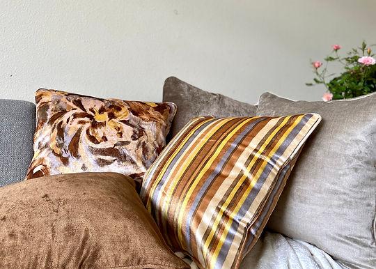 Velvet Decorative Pillowcase (Yellow Brown Stripe)