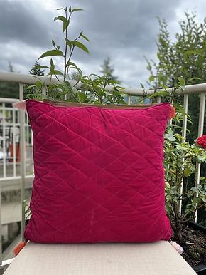 Velvet Quilted Throw Pillow case (Magenta)