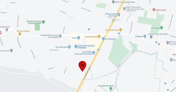 Google maps van de Frans Beirenslaan 3 in Borsbeek.