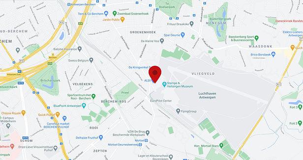 Google maps kaart van het Airport Business Center op de Luchthavenlei in Deurne.