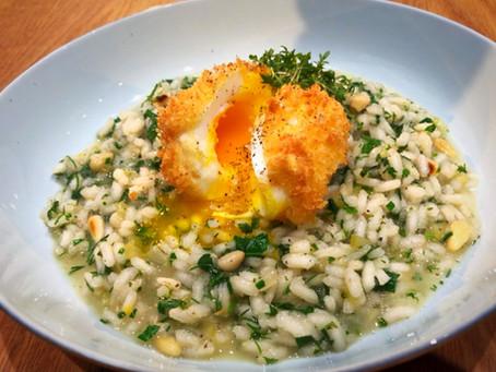 Kräuterrisotto mit frittiertem Ei