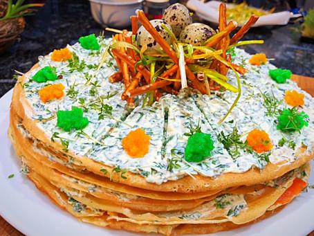 Crêpe-Torte für den Osterbrunch