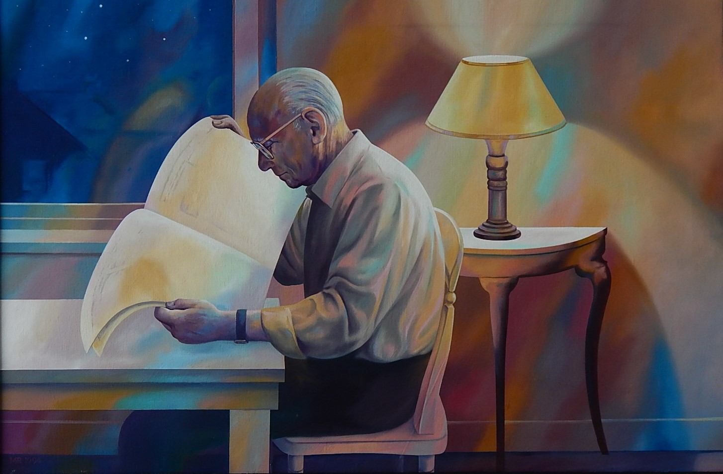 Fred Saunders Reading at Night (1995)