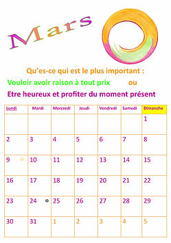 Mois de mars de notre calendrier de développement personnel avec un exercice, un mandala et une phrase positive chaque mois