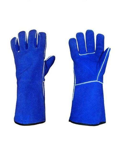 Blue Lined Medium Length Welding Glove