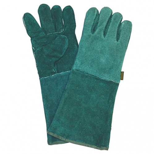 Green Lined Leather Welders Glove         20cm
