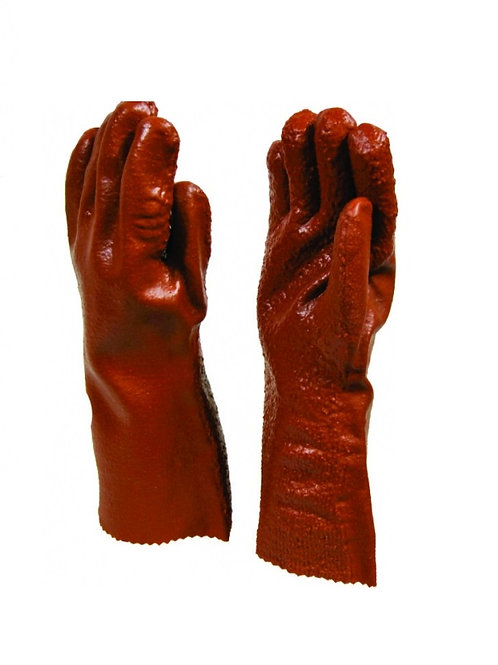 PVC Red Open Cuff Rough Palm Glove 27cm