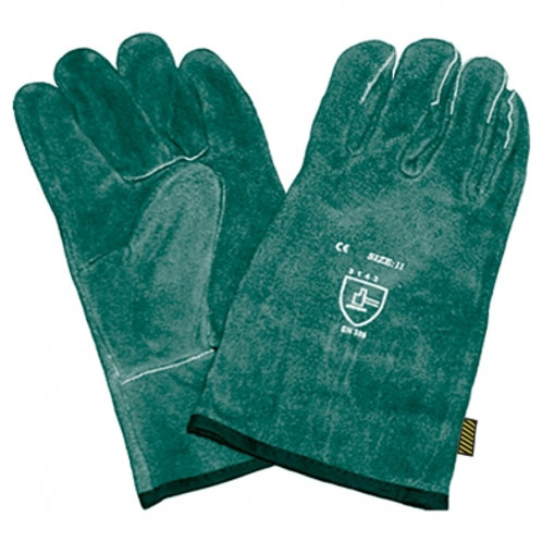 Green Lined Leather Welders Glove 10cm