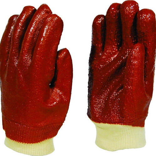 PVC Red Heavy Duty Knit Wrist Glove