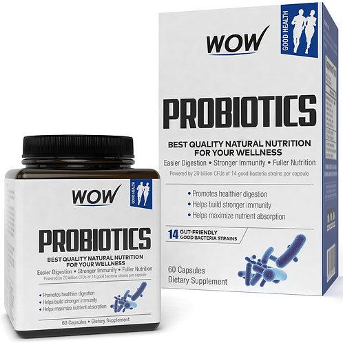 WOW Probiotics 20 Billion CFU (14 Probiotic Strains) 500mg - 60  Capsules