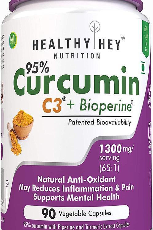 HealthyHey Nutrition Curcumin with Bioperine  (1300mg) - Pack of 1