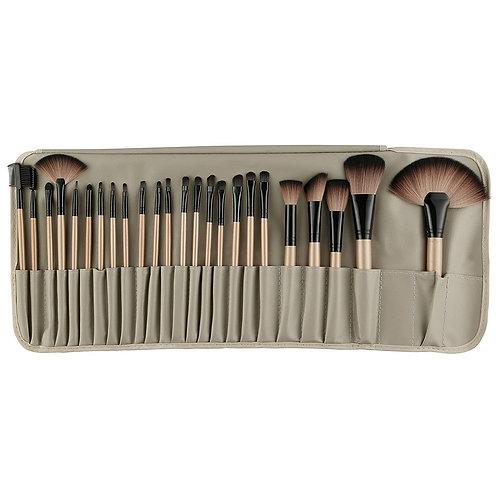 Rozia 24pcs Makeup Brush Set, 24 Professional Makeup Brushes Kit Wooden Handle