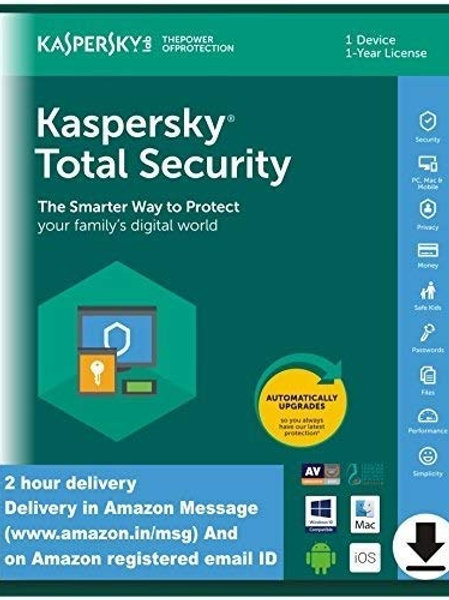 Kaspersky Total Security Latest Version- 1 User, 1 Year (Code emailed in 2 Hours