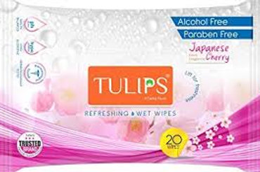 Tulips Refreshing Wet Wipes With Different Fragrances- Pack of 3 (20 Wipes Each)