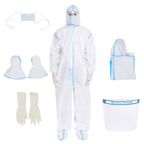 Cat Bay SITRA Certified PPE KIT with SEAM SEAL, NITRILE GLOVES, SHOE COVER