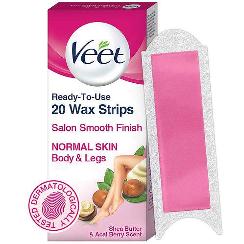 Veet Full Body Waxing Kit for Normal Skin, 20 strips