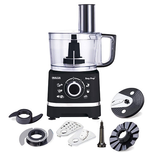 Inalsa Food Processor Easy Prep-800W with Processing Bowl & 7 Accessories(Black)