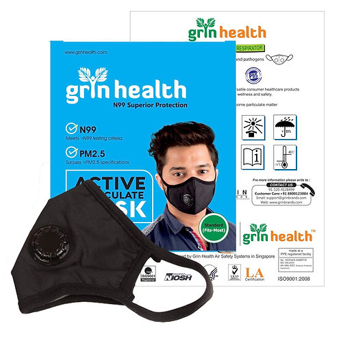Grin Health N99 Anti Pollution Reusable Washable Mask with 6 Layer Protection