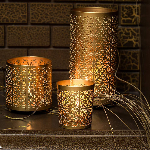 Lighthaus Candle Holders Metallic - Set of 3 with Free 12 Tealight Candle